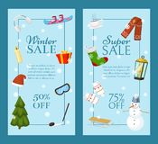 Winter super sale set of banners vector illustration. Nature landscape with Christmas tree, snowmen, sledge, snowboard vector illustration