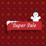 Winter super sale with a snowman on a red background. Vector illustration Royalty Free Stock Photo