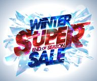 Winter super sale vector poster. With explosion 3d pieces of ice Royalty Free Stock Photography