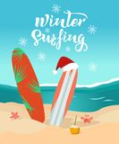 Winter surfing hand drawn text. Sunny day on the beach, surfboards with christmas cap, waves on the sea, crab, seastar, coconut royalty free illustration