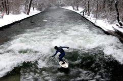 Winter Surfing in Munich Stock Photos