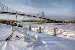 Winter Suspension Bridge Royalty Free Stock Photo