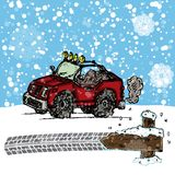 Winter SUV sketch Royalty Free Stock Image