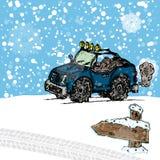 Winter SUV sketch Stock Photos
