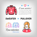 Winter sweater thin line icons, christmas pullover, jumper, sport clothes Royalty Free Stock Image