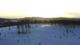 Winter in Sweden. Aerial drone shot of WInter in Sweden stock footage