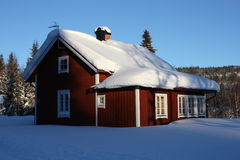 Winter swedish house. House in sweden winter 2012, red Stock Images