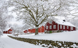 Winter in Swedish village Royalty Free Stock Images
