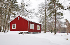 Winter-Swedishhaus Stockbilder