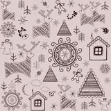 Winter sweet wallpaper with reindeers, pine, xmas tree, gingerbread and little house Stock Images