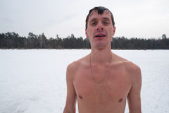 The winter swimmer Stock Image