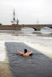 The winter-swimmer at the Peter and Paul Fortress Royalty Free Stock Photo