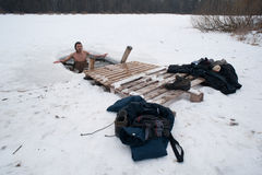 The winter swimming Stock Images