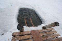The winter swimming Stock Photos