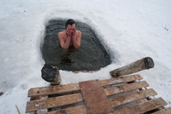 The winter swimming Stock Photo
