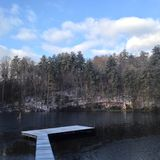Winter Swimming. Winter dock pier in Blue Ridge Mountains Stock Image