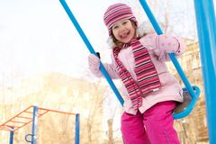 Winter swings for children Royalty Free Stock Photos