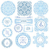 Winter swirls decor.Frame,wreath,mandala set Royalty Free Stock Photography