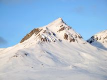 Winter in the swiss alps. (Scuol, Switzerland Royalty Free Stock Photography