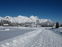 Winter in the Swiss Alps, Mt  Saentis Royalty Free Stock Photography