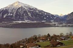 Winter in Swiss Alps near the Thun lake Stock Photo