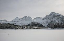 Winter swiss landscape. In Alpine village Arose royalty free stock image