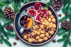 Winter table with mulled wine spices nuts Stock Photos