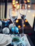 Winter table setting with Christmas decoration Stock Photo