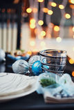 Winter table setting with Christmas decoration Royalty Free Stock Image