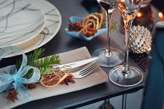 Winter table setting with Christmas decoration Royalty Free Stock Photos