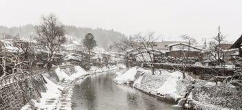 Winter Takayama panorama. Panorama Snow fall Winter in Takayama Gifu Prefecture, Japan Stock Image