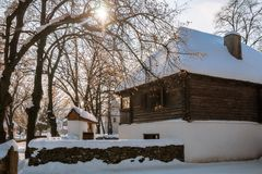 Winter tale in an old rustic village Royalty Free Stock Photography
