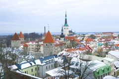 Winter Tallinn on a cloudy day. Estonia. Winter Tallinn on a cloudy day, Estonia stock images