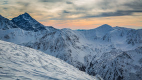 Winter Tatra Mountains at sunset Stock Images