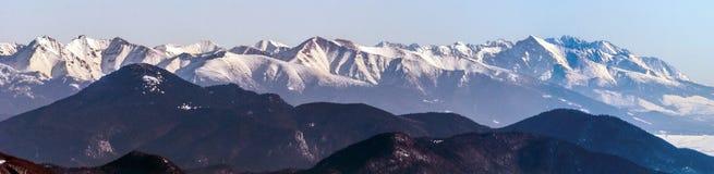 Winter Tatras mountain range panorama from Velka luka hill in Mala Fatra mountains in Slovakia Royalty Free Stock Images