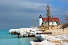 Winter-Tauwetter-PunktBetiseleuchtturm Stockbild