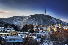 Winter Tbilisi. City center and TV Tower on the top of Mtatsminda mountain Stock Photography