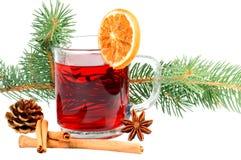 Winter tea. Tea glass with fir branch Stock Photo