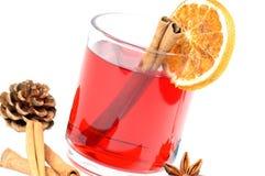 Winter tea. Tea glass with fir branch Royalty Free Stock Photos