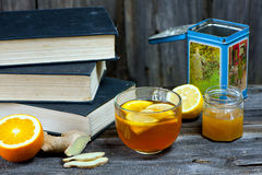 Winter tea and books Royalty Free Stock Photo