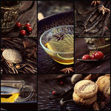 Winter tea collage. Restaurant series. Collage of winter spiced tea. Cookies, spices, fruit and tea, vanilla pods Royalty Free Stock Image