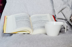 Winter. Tea cup and  open book Stock Photo