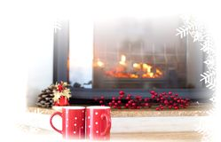 Winter tea cups royalty free stock photography