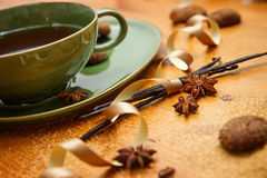 Winter tea. Hot winter tea with ginger cookies and christmas decoration Stock Photo