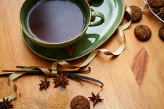 Winter tea. Hot winter tea with ginger cookies and christmas decoration Stock Photos