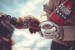 Winter tea party. Walking and drinking tea winter royalty free stock photo