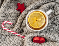 Winter tea  with scarf Royalty Free Stock Photo
