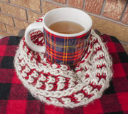 Winter Tea Wrapped in Fuzzy Scarf. Plaid winter mug wrapped in fuzzy knit winter scarf Royalty Free Stock Photo