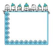 Winter teamwork & blank space Royalty Free Stock Photo