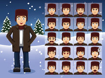 Winter Teen Boy Cartoon Emotion faces Vector Illustration Royalty Free Stock Image